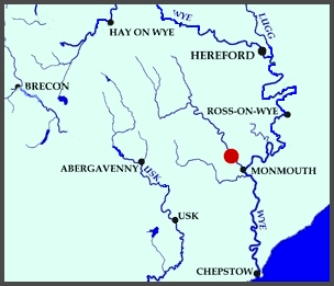 Map showing the Monnow Valley Fishery in Rockfield